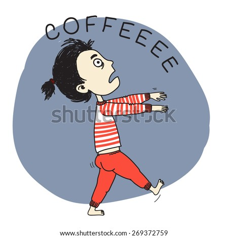 Sleeping girl zombie going for coffee. Hand drawn vector illustration. - stock vector