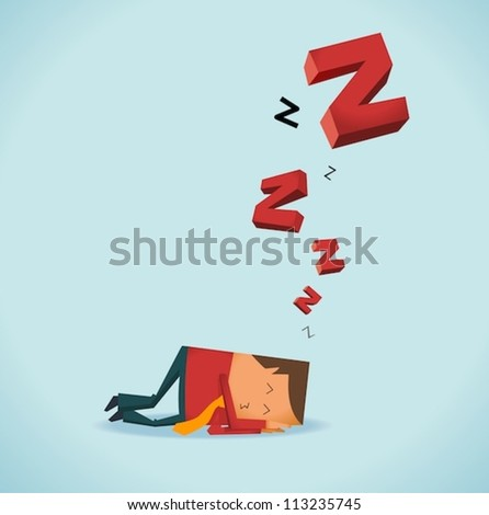 Sleeping in office - stock vector