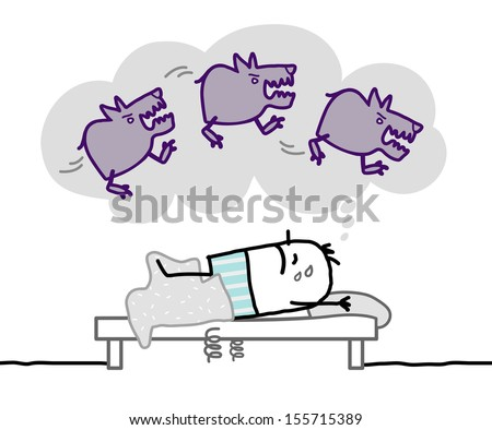 sleeping man & nightmare  - stock vector