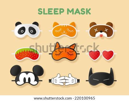 Sleeping masks set, vector illustration - stock vector