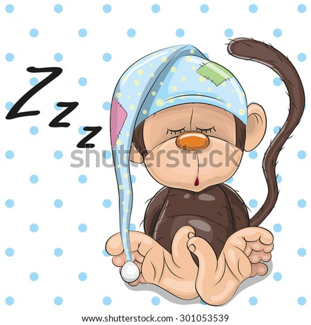 Sleeping Monkey in a cap on a dots background - stock vector