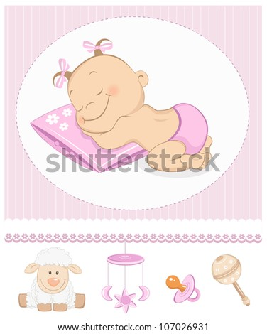 Sleeping sweet girl arrival announcement. Photo frame with baby toys - stock vector