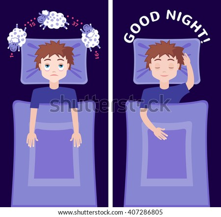 Sleepless man character counting sheep and sleeping man character with good dream. Insomnia concept. Vector illustration - stock vector