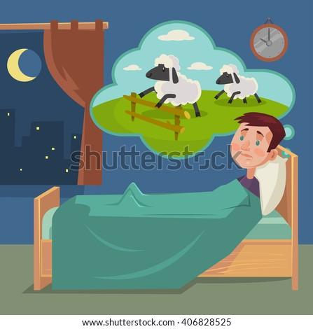 Sleepless man counting sheep. Vector flat cartoon illustration - stock vector