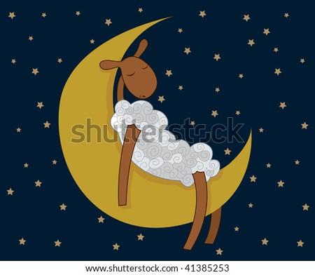 sleepy lamb on the moon - stock vector