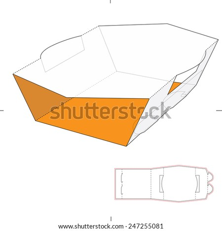 Sleeve Box with Die Cut Template - stock vector