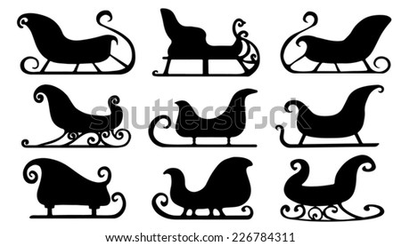 sleigh silhouettes on the white background - stock vector
