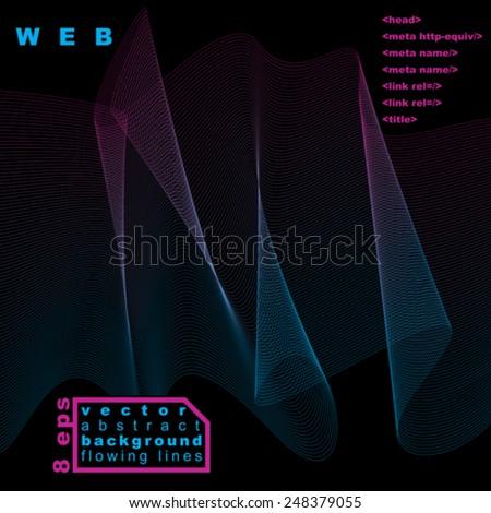 Slender 3d textile motif background, curved stripy flowing lines, dark relax aerial composition, eps8 illustration. - stock vector