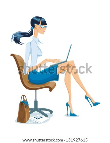 slender young girl sitting sideways in an office chair with a laptop on her lap - stock vector