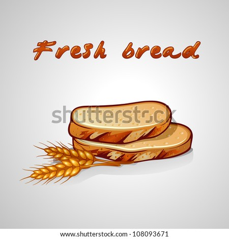 slice of bread and rye grain - stock vector