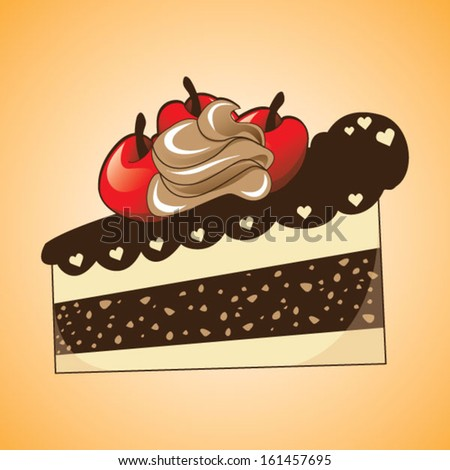 Slice of cake over orange background - stock vector