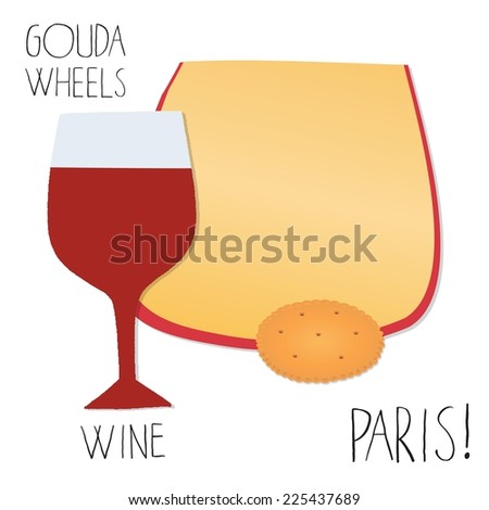 Slice of Gouda cheese with wine. - stock vector