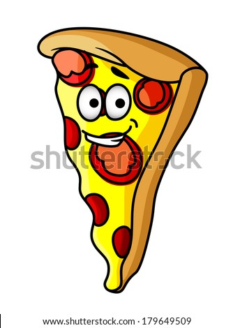 Slice of happy cheesy pepperoni or salami pizza with a beaming smile and golden colour for fast food design - stock vector
