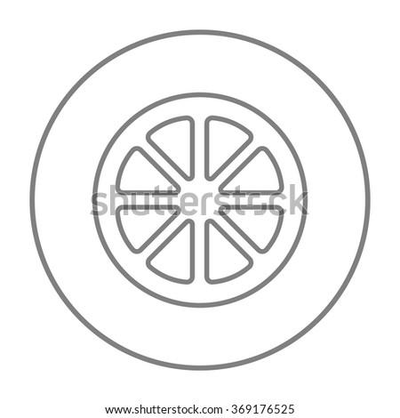 Slice of lemon line icon. - stock vector