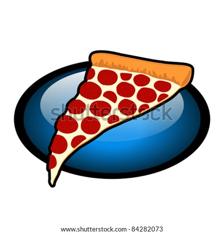 Slice of Pepperoni Pizza Symbol - Vector Illustration. (high resolution JPEG also available). - stock vector