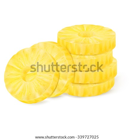 Slice of pineapple isolated on white background. Vector illustration for decorative poster or emblem natural product. Concept for farmers market. Perfect for packaging design of cosmetics and food.