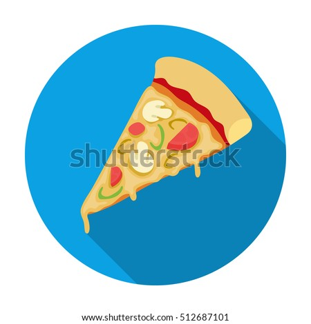 Slice of pizza icon in flat style isolated on white background. Pizza and pizzeria symbol stock vector illustration.