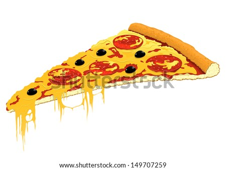 Slice of pizza. Vector illustration. - stock vector