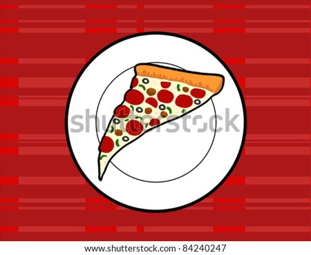 Slice of Supreme Pizza on a Plate Retro Style Illustration - Vector Illustration. (high resolution JPEG also available). - stock vector