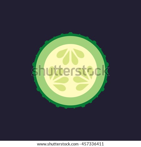 sliced cucumber icon in flat style