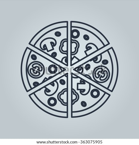 sliced delicious pizza icon