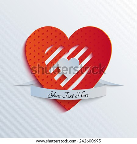 Sliced Paper Heart - stock vector