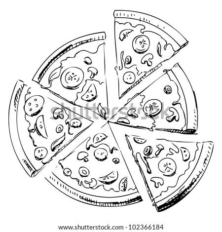 Sliced Pizza Isolated On White Background Stock Vector 102366184 - Shutterstock