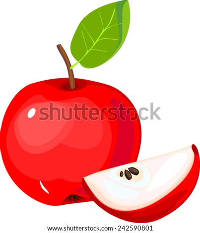 Sliced red apple with green leaf - stock vector