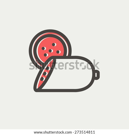 Sliced sausage icon thin line for web and mobile, modern minimalistic flat design. Vector icon with dark grey outline and offset colour on light grey background. - stock vector