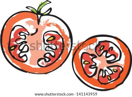 Sliced tomato vector - stock vector