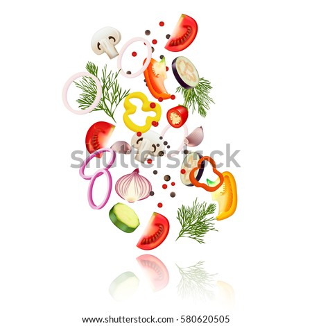 Sliced vegetables  realistic concept with tomato pepper and onion vector illustration