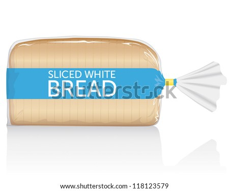 Sliced white bread loaf vector visual, in clear plastic film bag - stock vector