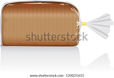 Sliced white or brown bread loaf vector visual, in clear plastic film bag - stock vector