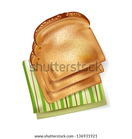 slices of bread and napkin isolated - stock vector