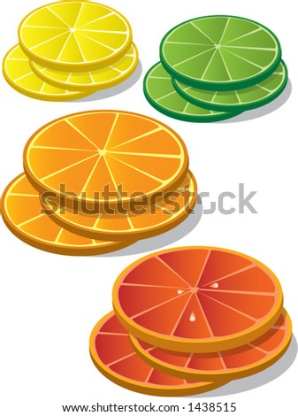 Slices of citrus fruits:  lemon, lime, orange and grapefruit.