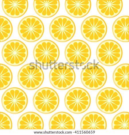 Slices of fresh orange pattern background. Vector illustration. Fruit texture on white. Orange slices ornament. Vector orange slices texture. Orange fruit background. - stock vector
