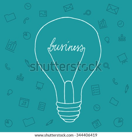 Slide presentation of ideas brain in form light bulb. Creator and generator comprehension tip in brainstorm. Vector illustration concept of breakthrough thought, network and enlightenment. Hand style - stock vector