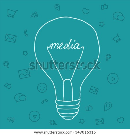 Slide presentation of ideas brain in form light bulb. Creator and generator comprehension tip in brainstorm. Vector illustration concept of breakthrough thought, network and enlightenment. Draw style