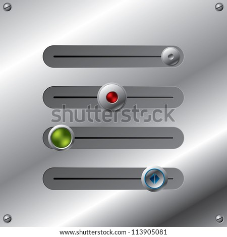 Slideable button set with various designs on metallic plate