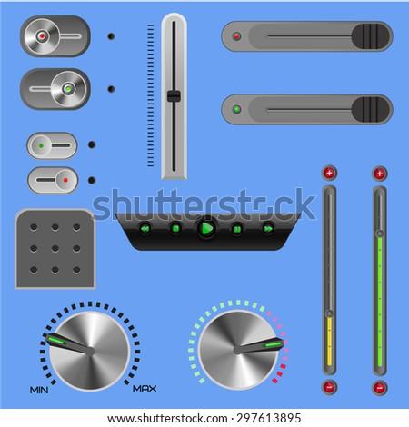 sliders.set of design elements in vector - stock vector