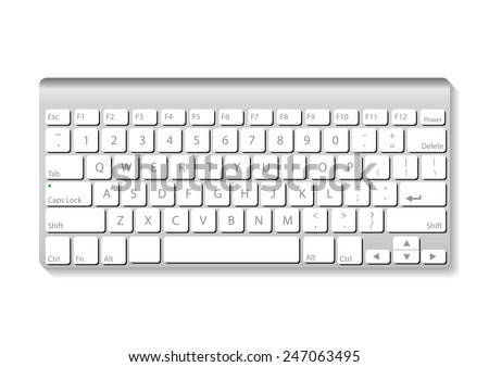 slim aluminum computer keyboard isolate on white background vector illustrations