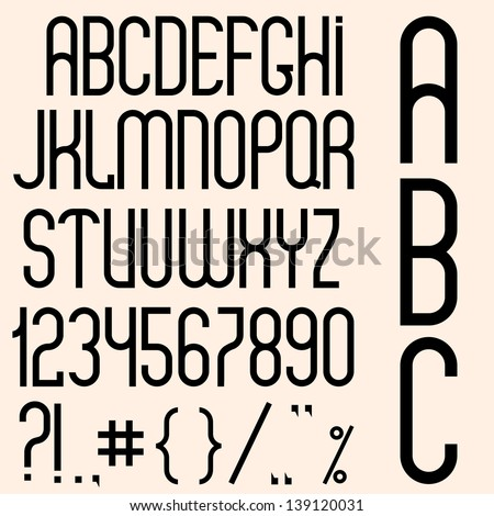 Slim black font, numbers and punctuation marks. Vector set - stock vector