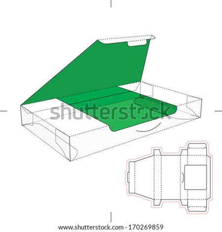 Slim Green Box with Blueprint Layout - stock vector
