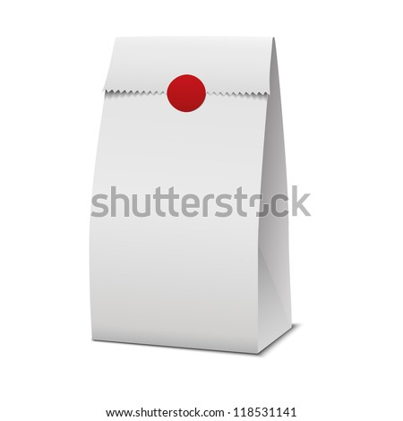 Slim Paper Bag Package Of Coffee, Salt, Sugar, Pepper, Spices Or Flour, Filled, Folded, Close, White. Ready For Your Design. Snack Product Packing Vector - stock vector