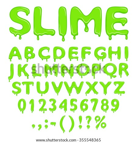 Slime alphabet, numbers and symbols isolated on white background - stock vector