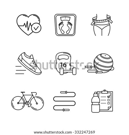 Slimming, fitness and healthy lifestyle thin line art icons set. Modern flat style symbols isolated on white for infographics or web use. - stock vector