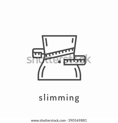 Slimming icon. Slimming loss weight, healthy lifestyle, healthy diet concept - stock vector