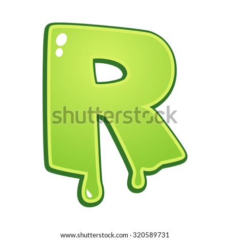 Slimy font type letter R - stock vector
