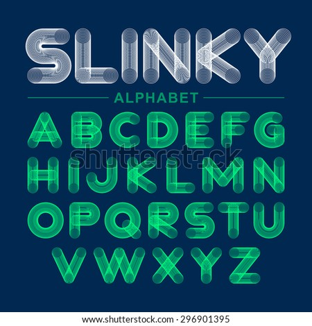 Slinky toy alphabet. Vector. - stock vector