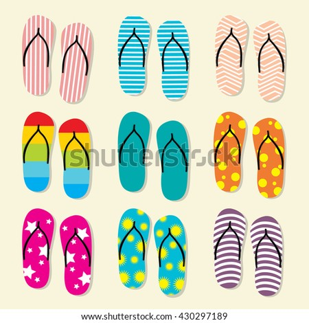 slippers set vector format